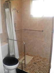 Grab bar, & Open Shower Floors,